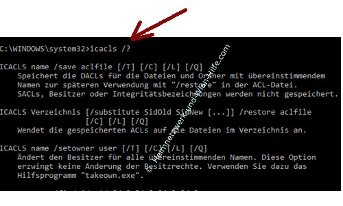 Ordner- und Dateiberechtigungen mit Takeown und Icacls ändern – Die Hilfe und Befehlsoptionen von Icacls aufrufen