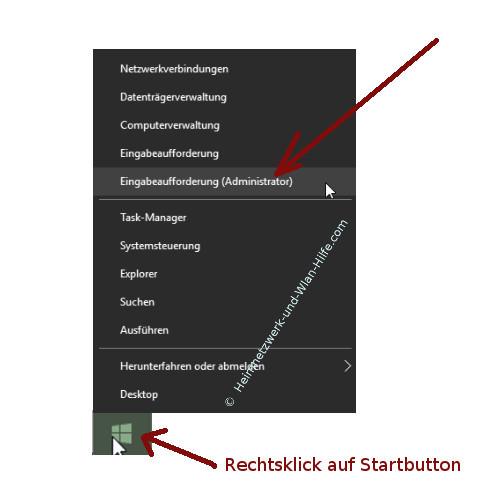Ordner- und Dateiberechtigungen mit Takeown und Icacls ändern – Eingabeaufforderung mit Administratorrechten über das Startmenü öffnen