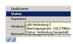 Netzwerkanleitung IP-Adresse finden und anzeigen lassen - Symbol der Netzwerkverbindung in der Taskleiste - Kontextmenü Menüpunkt Status