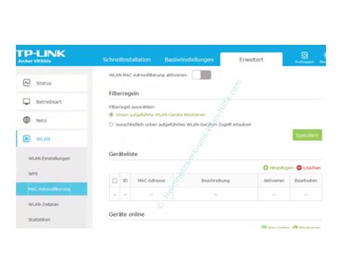 TP-Link Archer VR900v - Mac-Adressfilter konfigurieren – Das Menü MAC-Adressfilterung