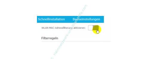 TP-Link Archer VR900v - Mac-Adressfilter konfigurieren – Der MAC-Adressfilter Aktivierungsschalter
