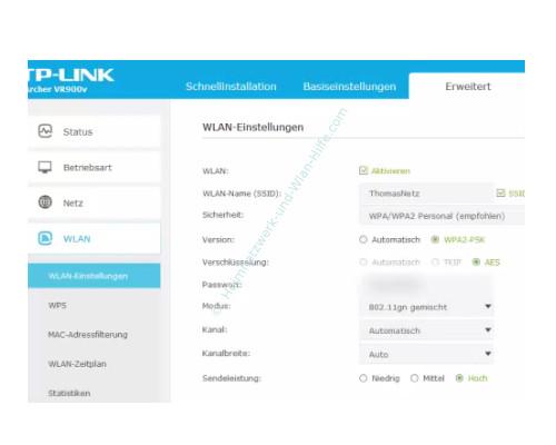 TP-Link Archer VR900v – Detaillierte Wlan-Einstellungen im Konfigurationsmenü vornehmen