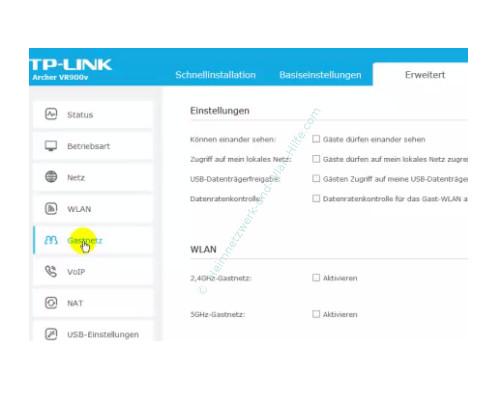 TP-Link Archer VR900v: Ein Wlan-Gastnetzwerk konfigurieren – Erweiterte Einstellungen des Gastnetzwerkes