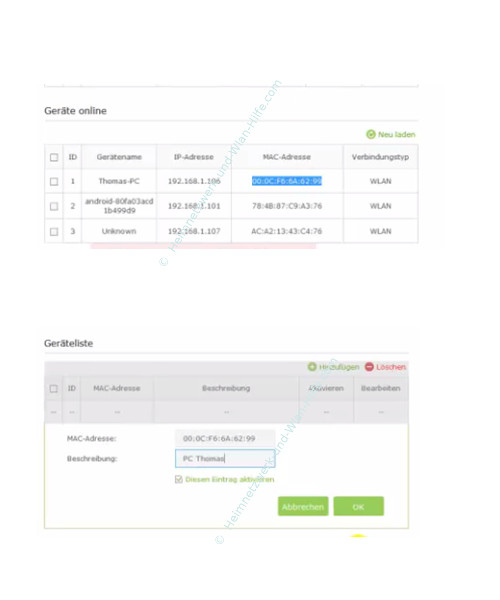 TP-Link Archer VR900v - Mac-Adressfilter konfigurieren – Ein Gerät in die MAC-Filterliste aufnehmen