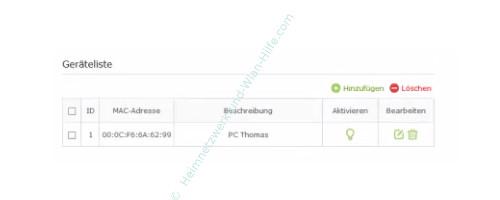 TP-Link Archer VR900v - Mac-Adressfilter konfigurieren – Die MAC-Filter Geräteliste