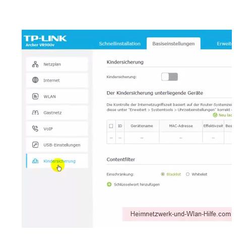 TP-Link Archer VR900v: Die Einrichtung einer Kindersicherung – Register Basiseinstellungen, Menü Kindersicherung