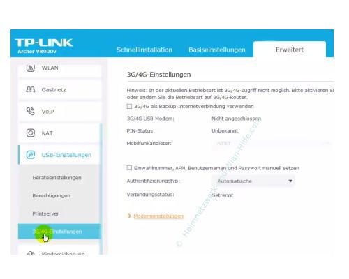 TP-Link Archer VR900v: USB-Anschlussmöglichkeiten nutzen – 3G / 4 G Einstellungen