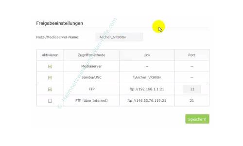 TP-Link Archer VR900v: USB-Anschlussmöglichkeiten nutzen – Freigabeeinstellungen vornehmen