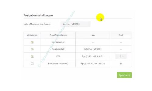 TP-Link Archer VR900v: USB-Anschlussmöglichkeiten nutzen – Protokolle für den Datenzugriff festlegen
