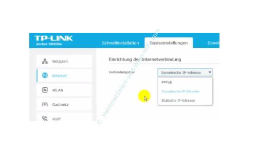 TP-Link Archer VR900v - Der Router, seine Anschlüsse und sein Konfigurationsmenü – Den Internet Verbindungstyp auswählen