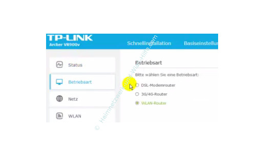 TP-Link Archer VR900v - Der Router, seine Anschlüsse und sein Konfigurationsmenü – Die Betriebsart Wlan-Router