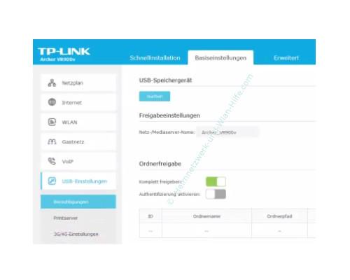 TP-Link Archer VR900v - Der Router, seine Anschlüsse und sein Konfigurationsmenü – Die USB-Einstellungen