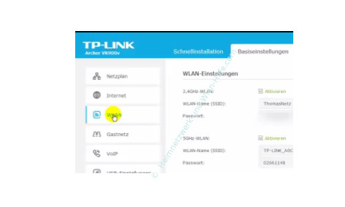 TP-Link Archer VR900v - Der Router, seine Anschlüsse und sein Konfigurationsmenü – Die Wlan-Einstellungen