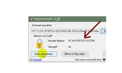 Windows 10 - Gesperrte Registry-Einträge mit Regownershipex ändern – Anzeige der gesperrten Rechte eines Registry-Schlüssels