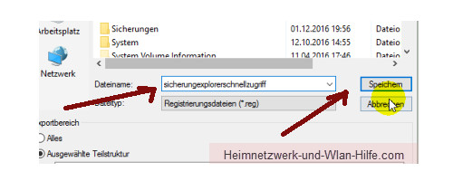 Windows 10 - Gesperrte Registry-Einträge mit Regownershipex ändern – Dateinamen für die Registry-Sicherung vergeben