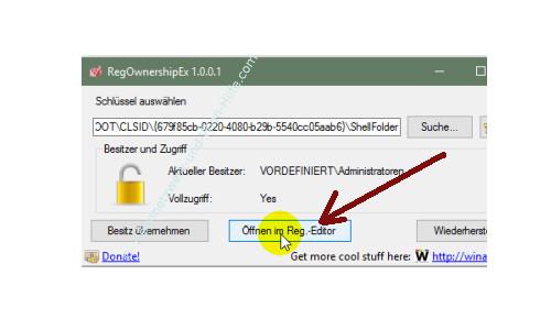 Windows 10 - Gesperrte Registry-Einträge mit Regownershipex ändern – Die Registry mit geänderten Schlüsselrechten neu starten