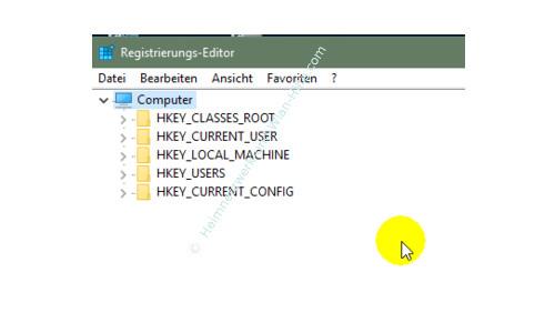 Windows 10 - Gesperrte Registry-Einträge mit Regownershipex ändern – Die Standardansicht des Registrierungs-Editors
