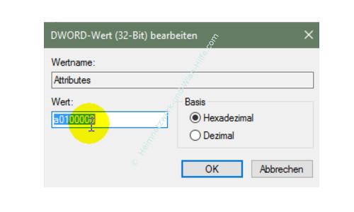 Windows 10 - Gesperrte Registry-Einträge mit Regownershipex ändern – Einen Attributes Eintrag öffnen