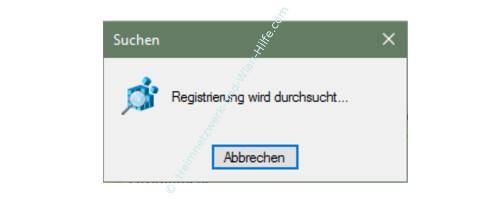 Windows 10 - Gesperrte Registry-Einträge mit Regownershipex ändern – Info-Fenster. Registrierung wird durchsucht