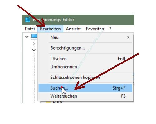 Windows 10 - Gesperrte Registry-Einträge mit Regownershipex ändern – Registry, Menü Bearbeiten, Untermenü Suchen