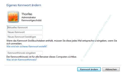 Tutorial Windows 7 Kennwort ändern Passwortänderung vornehmen