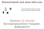 Windows 10  Tutorial - Kennwortgeschützte Freigaben deaktivieren!