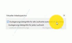 Windows 10 Tutorial - Die Auslagerungsdatei pagefile.sys für ein schnelleres System verschieben! - Virtueller Arbeitsspeicher Option Auslagerungsdatei für alle Laufwerke automatisch verwalten