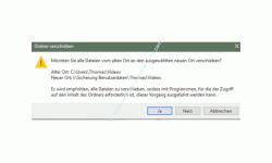 Windows 10 Tutorial - Ordner aus Benutzerverzeichnis verschieben – Warnmeldung, die beim Verschieben eines Benutzerunterverzeichnisses erscheint