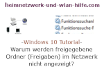 Windows 10 Netzwerk Tutorial - Warum werden freigegebene Ordner (Freigaben) im Netzwerk nicht angezeigt?