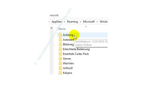 Windows 10 - Eigene Programme im Startmenü einbinden – Der neue Programmordner für das einzubindende Programm