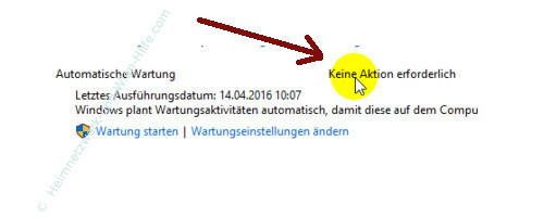 Die Windows 10 Systemfunktion Automatische Wartung anpassen – Info: Keine Aktion erforderlich