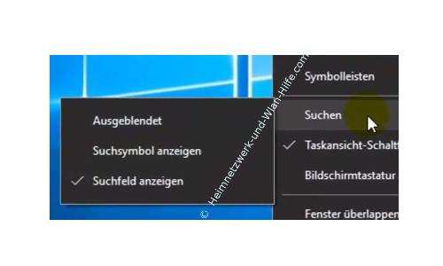 Windows 10 - Die Suche Cortana minimieren oder ganz ausblenden – Cortana Ansichtsoptionen