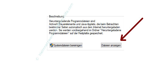 Windows 10 Datenträgerbereinigung – Der Botton Dateien anzeigen