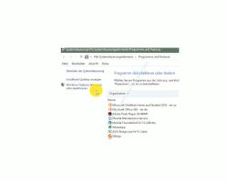 Windows 10 Datenträgerbereinigung – Konfigurationsfenster Programme und Features