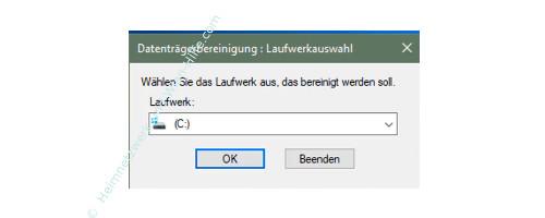 Windows 10 Datenträgerbereinigung – Laufwerk auswählen