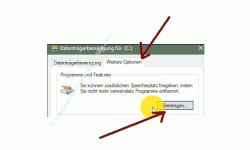 Windows 10 Datenträgerbereinigung – Programme und  Features, Botton Bereinigen