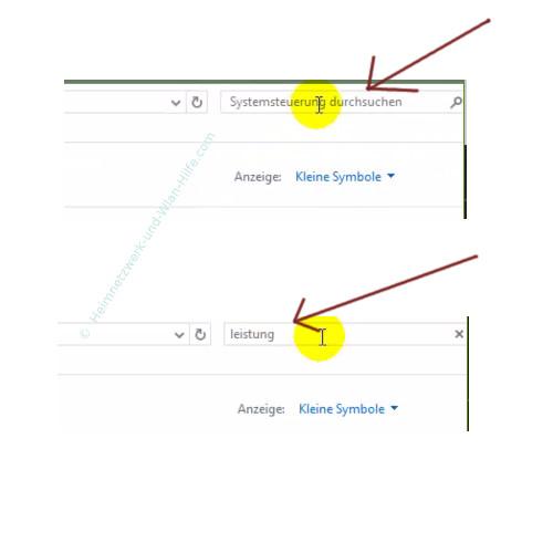 Die Leistungsoptionen von Windows anpassen – Die Suchfunktion der Systemsteuerung nutzen
