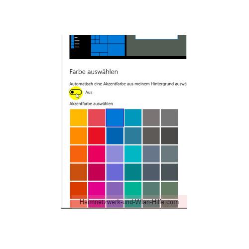Die Farbeinstellungen des Windows 10 Startmenüs und Desktops anpassen – Deaktivierte Option Automatische Akzentfarbe