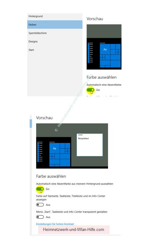 Die Farbeinstellungen des Windows 10 Startmenüs und Desktops anpassen – Die Option Automatisch eine Akzentfarbe aus meinem Hintergrund auswählen deaktivieren oder aktivieren