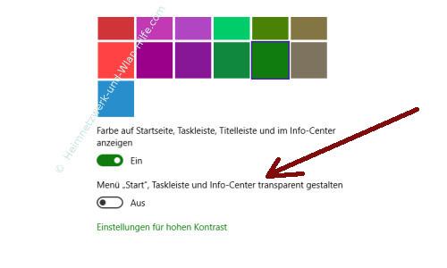 Die Farbeinstellungen des Windows 10 Startmenüs und Desktops anpassen – Option
