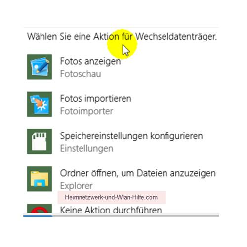 Das Windows 10 Info-Center – Aktionen für den Wechseldatenträger
