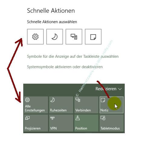 benachrichtigungen und aktionen windows 10