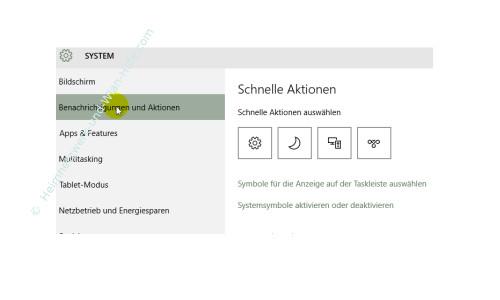 Das Windows 10 Info-Center – Anpassung der Option Schnelle Aktionen im Menü Sytem, Benachrichtigungen und Aktionen