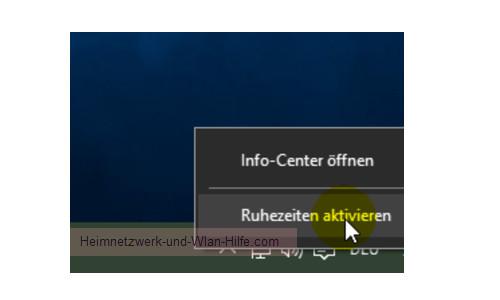 Das Windows 10 Info-Center – Option Ruhezeiten aktivieren