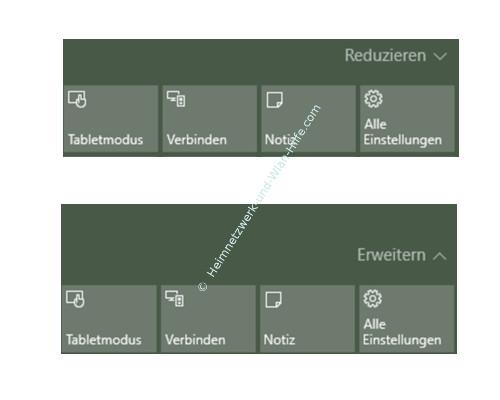 Das Windows 10 Info-Center – Die Optionen Reduzieren und Erweitern von Schnellzugriff Kacheln