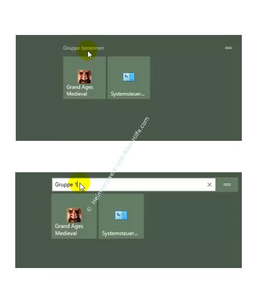 Windows 10 - Den Kachelbereichen im Startmenü eigene Überschriften vergeben – Kachel Gruppennamen ändern