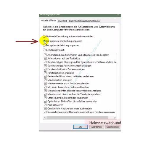 Die Leistungsoptionen von Windows anpassen – Leistungsoptionen: Für optimale Darstellung anpassen