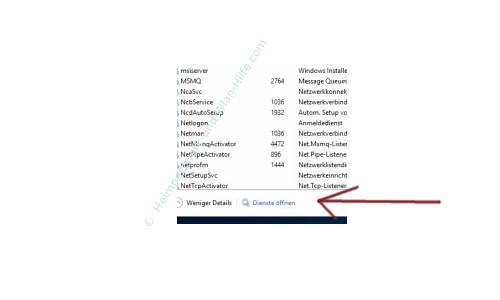 Windows 10 - Den Systemstart beschleunigen – Der Link Dienste öffnen im Task-Manager