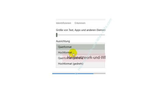 Windows 10 - Die Bildschirmauflösung anpassen – Option Ausrichtung