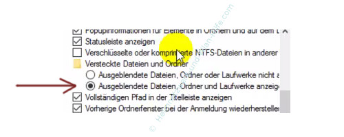 Alle Dateien im Windows Explorer anzeigen lassen – Explorer, Ordneroptionen, Augeblendete Dateien, Laufwerke und Ordner anzeigen